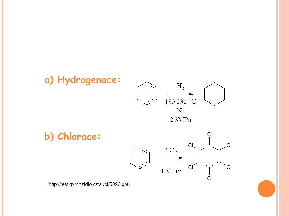 a) Hydrogenace: b) Chlorace: (http://test.gymnzidlo.cz/supl/5096.ppt)