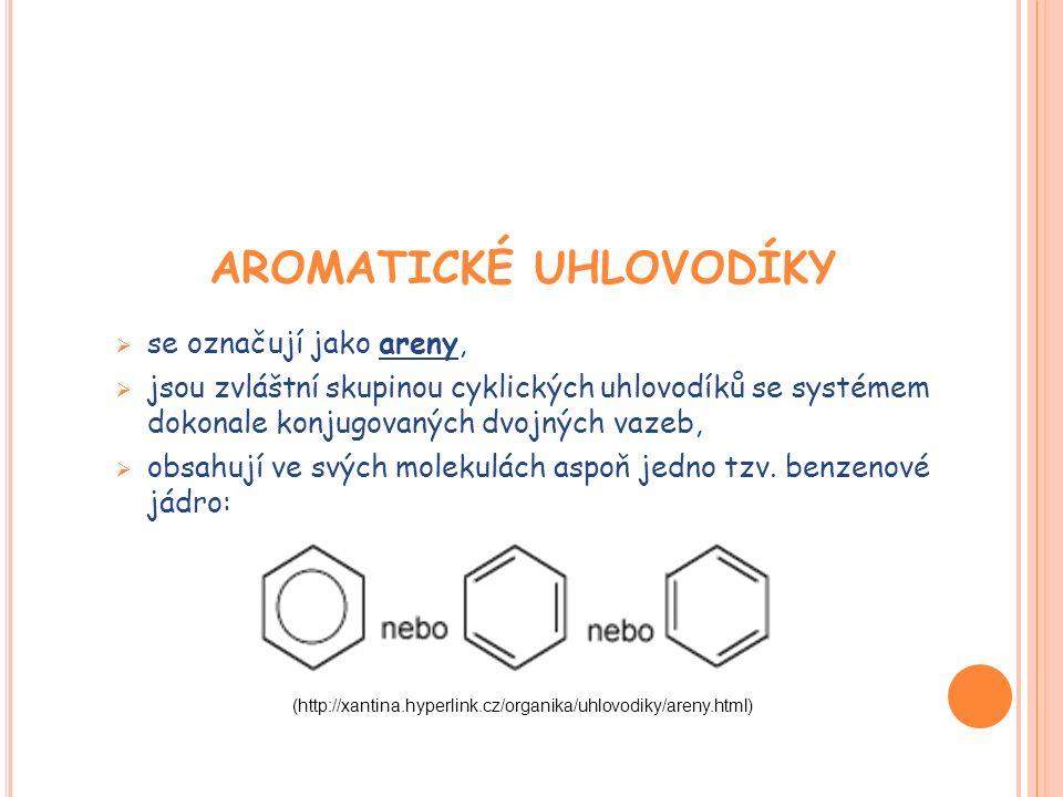 TEORIE AROMATICKÉHO JÁDRA  typickým představitelem aromatických uhlovodíků je benzen,  v molekule benzenu leží všechny uhlíkové atomy v jediné společné rovině - atomy vázané v kruhu jsou v hybridním stavu sp2,  valenční nehybridizované p-orbitaly uhlíkových atomů vázaných v kruhu jsou orientovány kolmo na rovinu kruhu - u benzenu je těchto orbitalů šest, každý s jedním valenčním elektronem atomu uhlíku,  šest  vazebných elektronů není lokalizováno v místech tří dvojných vazeb, ale rovnoměrně rozprostřeno po celém kruhovém systému - vzniká jediný  molekulový orbital (jedna jeho polovina je nad, druhá jeho polovina je pod rovinou kruhu, v níž leží atomy uhlíku a vodíku).