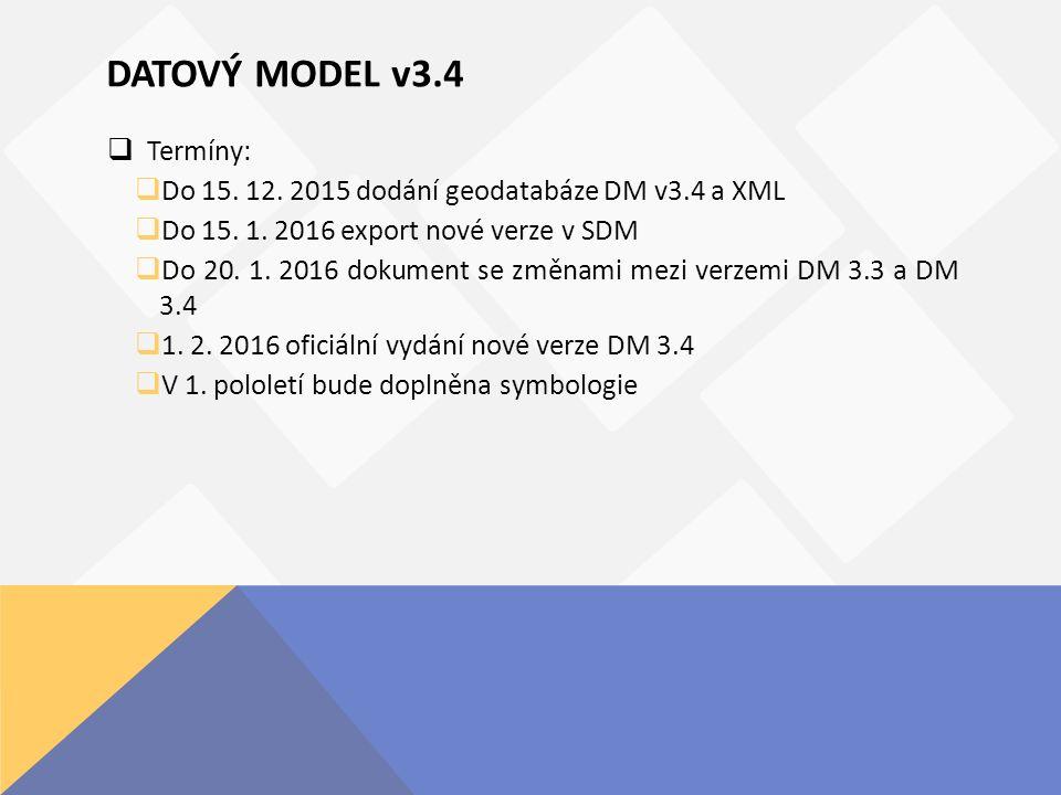 DATOVÝ MODEL v3.4  Termíny:  Do 15. 12. 2015 dodání geodatabáze DM v3.4 a XML  Do 15.