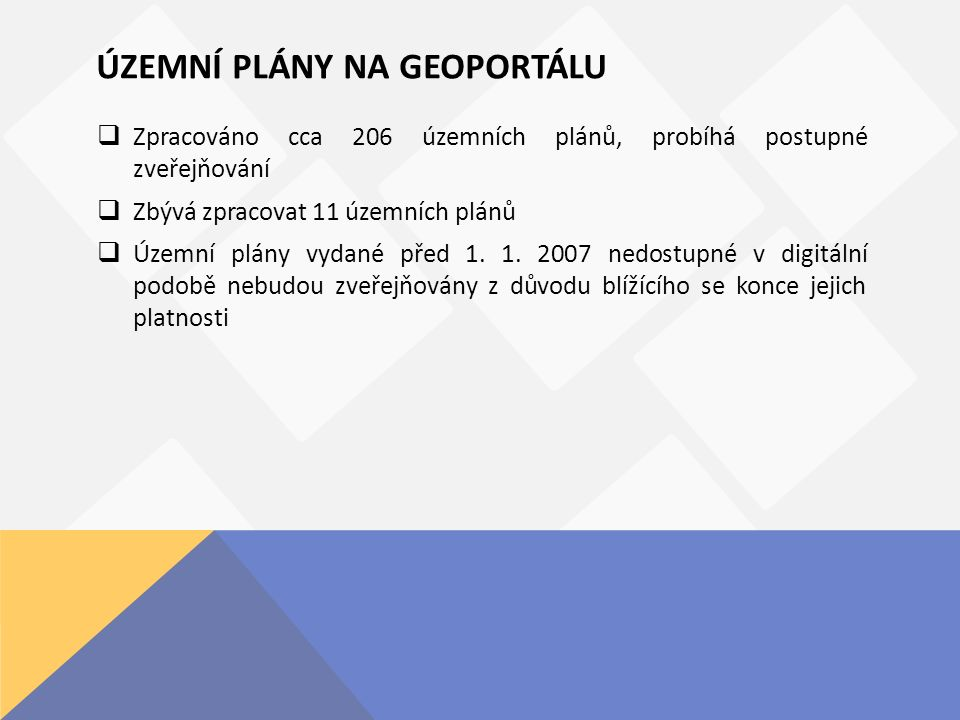 ÚZEMNÍ PLÁNY NA GEOPORTÁLU  Zpracováno cca 206 územních plánů, probíhá postupné zveřejňování  Zbývá zpracovat 11 územních plánů  Územní plány vydané před 1.