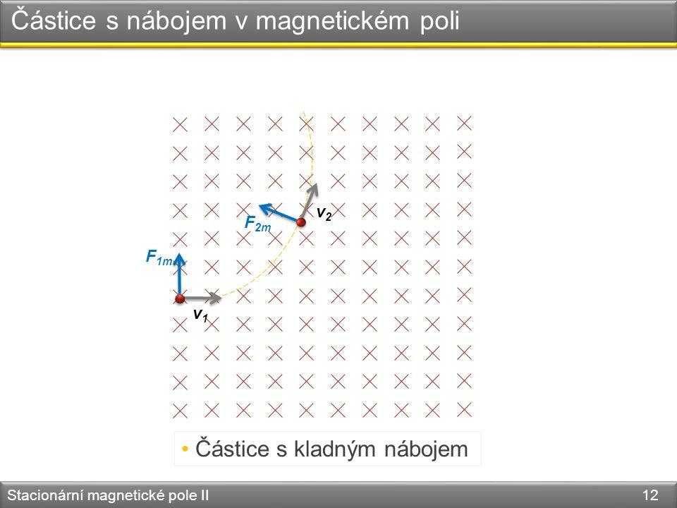 Stacionární magnetické pole II 12 Částice s nábojem v magnetickém poli v1v1 F 1m v2v2 F 2m Částice s kladným nábojem