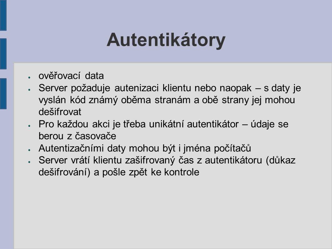 """Key Distribution Center ● Centralizovaná správa šifrovacích klíčů ● """"třetí hlava Kerberova ● Operuje nad danou oblastí – realm, doména ● Udržuje databázi účtů klientů a doprovodné databáze ● Uschovává sdílené šifrovací klíče (pouze long-term) – zpravidla otisky hesel"""
