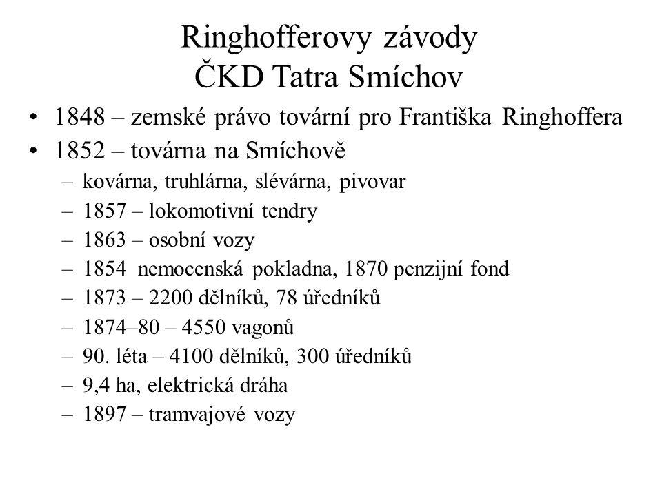 Ringhofferovy závody ČKD Tatra Smíchov 1848 – zemské právo tovární pro Františka Ringhoffera 1852 – továrna na Smíchově –kovárna, truhlárna, slévárna,