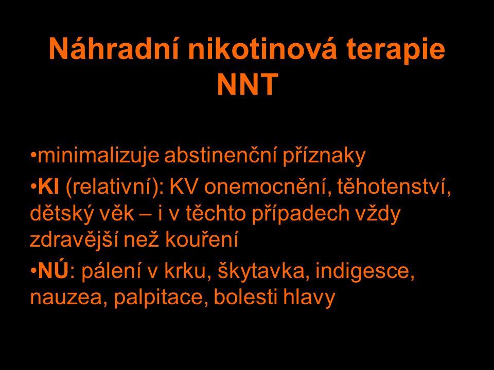 Náhradní nikotinová terapie NNT minimalizuje abstinenční příznaky KI (relativní): KV onemocnění, těhotenství, dětský věk – i v těchto případech vždy zdravější než kouření NÚ: pálení v krku, škytavka, indigesce, nauzea, palpitace, bolesti hlavy