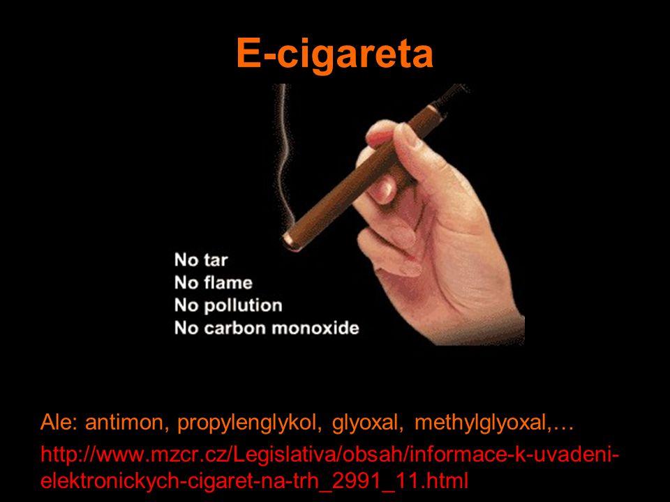 E-cigareta Ale: antimon, propylenglykol, glyoxal, methylglyoxal,… http://www.mzcr.cz/Legislativa/obsah/informace-k-uvadeni- elektronickych-cigaret-na-trh_2991_11.html