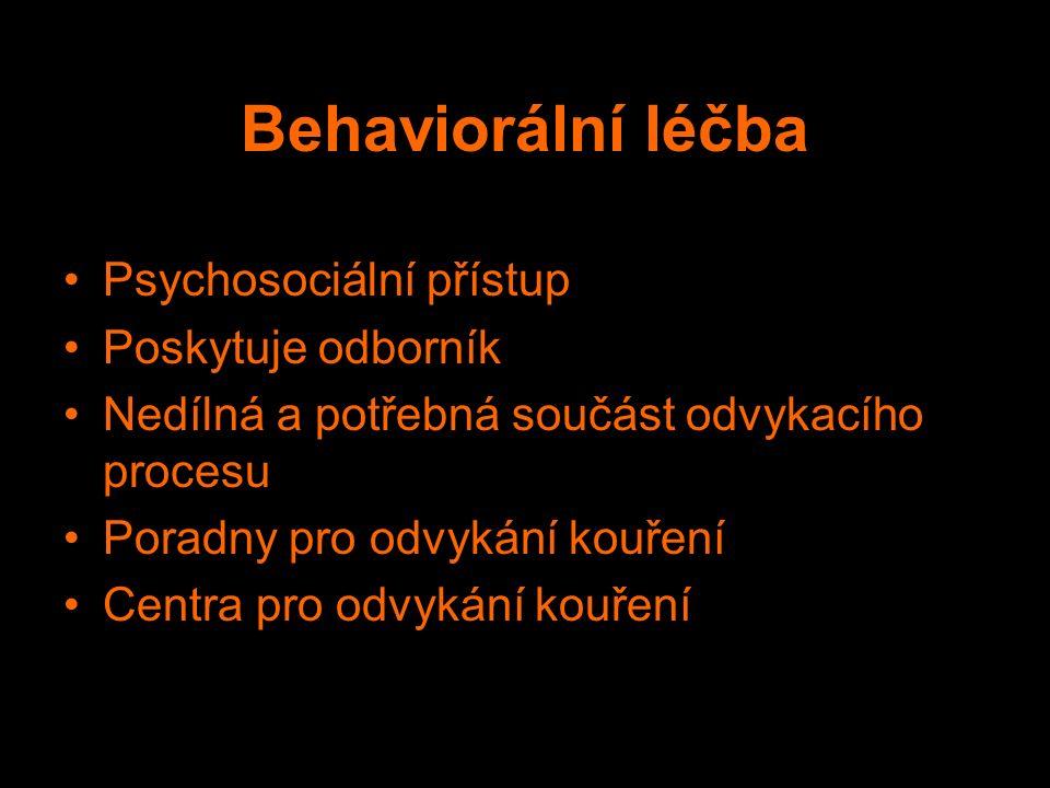 Behaviorální léčba Psychosociální přístup Poskytuje odborník Nedílná a potřebná součást odvykacího procesu Poradny pro odvykání kouření Centra pro odvykání kouření