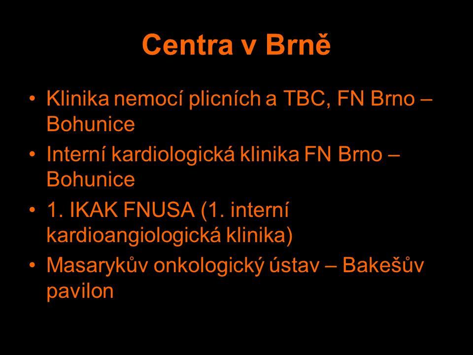 Centra v Brně Klinika nemocí plicních a TBC, FN Brno – Bohunice Interní kardiologická klinika FN Brno – Bohunice 1.