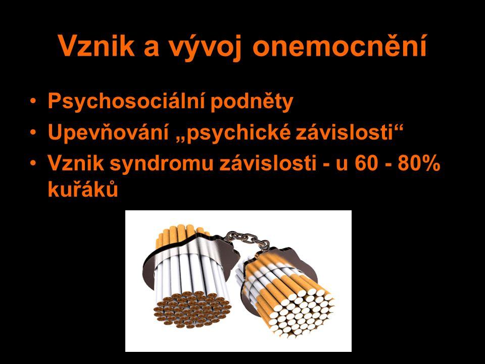 """Vznik a vývoj onemocnění Psychosociální podněty Upevňování """"psychické závislosti Vznik syndromu závislosti - u 60 - 80% kuřáků"""