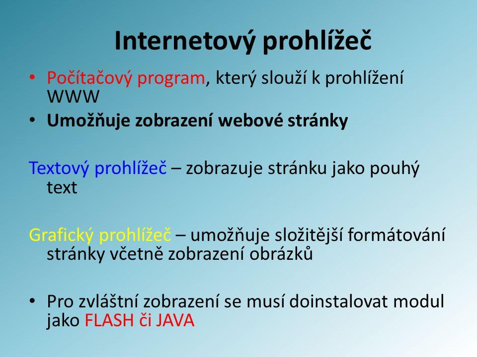 Internetový prohlížeč Počítačový program, který slouží k prohlížení WWW Umožňuje zobrazení webové stránky Textový prohlížeč – zobrazuje stránku jako p