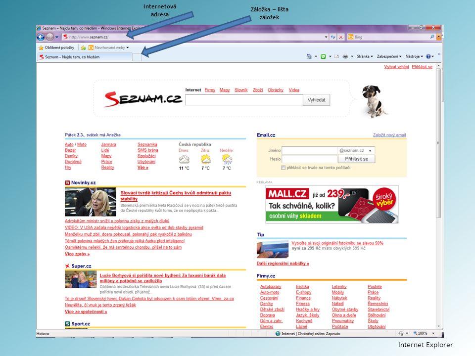 Internetová adresa Záložka – lišta záložek Internet Explorer