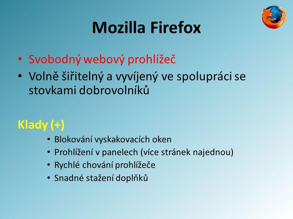 Mozilla Firefox Svobodný webový prohlížeč Volně šiřitelný a vyvíjený ve spolupráci se stovkami dobrovolníků Klady (+) Blokování vyskakovacích oken Prohlížení v panelech (více stránek najednou) Rychlé chování prohlížeče Snadné stažení doplňků