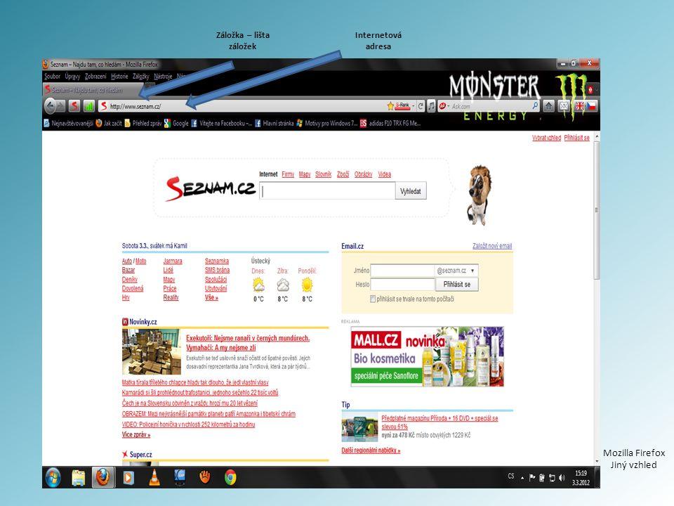 Internetová adresa Záložka – lišta záložek Mozilla Firefox Jiný vzhled