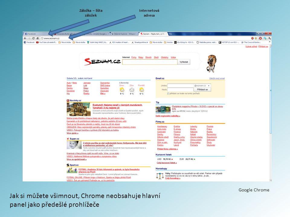 Google Chrome Jak si můžete všimnout, Chrome neobsahuje hlavní panel jako předešlé prohlížeče Internetová adresa Záložka – lišta záložek