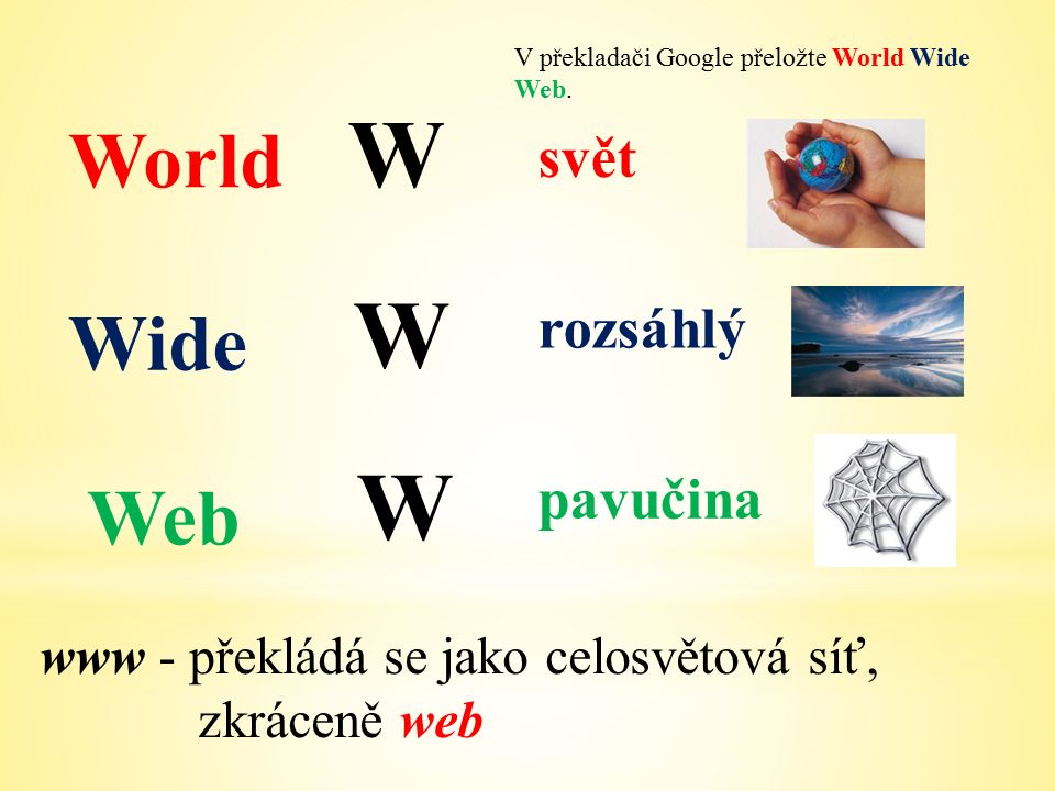 World Wide Web W W W V překladači Google přeložte World Wide Web.