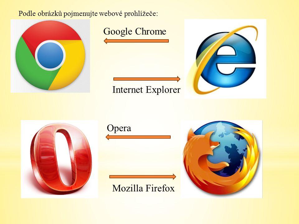 Podle obrázků pojmenujte webové prohlížeče: Opera Mozilla Firefox Internet Explorer Google Chrome