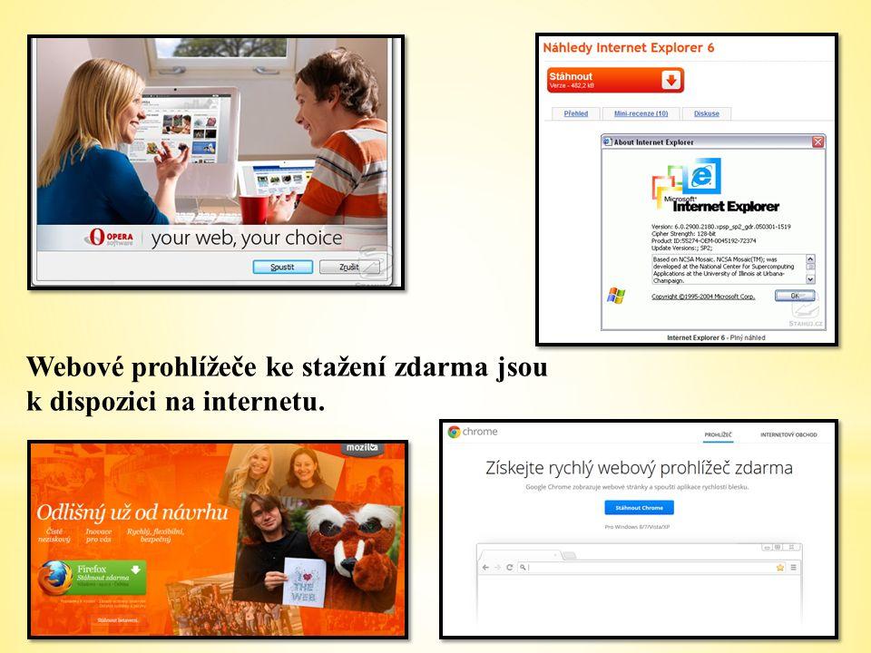Webové prohlížeče ke stažení zdarma jsou k dispozici na internetu.