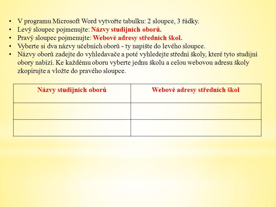 V programu Microsoft Word vytvořte tabulku: 2 sloupce, 3 řádky.