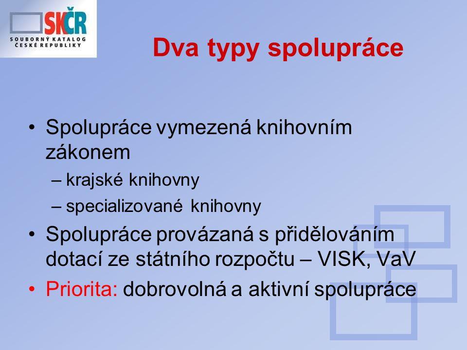 Dva typy spolupráce Spolupráce vymezená knihovním zákonem –krajské knihovny –specializované knihovny Spolupráce provázaná s přidělováním dotací ze státního rozpočtu – VISK, VaV Priorita: dobrovolná a aktivní spolupráce