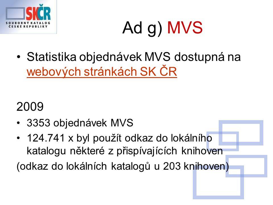 Ad g) MVS Statistika objednávek MVS dostupná na webových stránkách SK ČR webových stránkách SK ČR 2009 3353 objednávek MVS 124.741 x byl použít odkaz do lokálního katalogu některé z přispívajících knihoven (odkaz do lokálních katalogů u 203 knihoven)