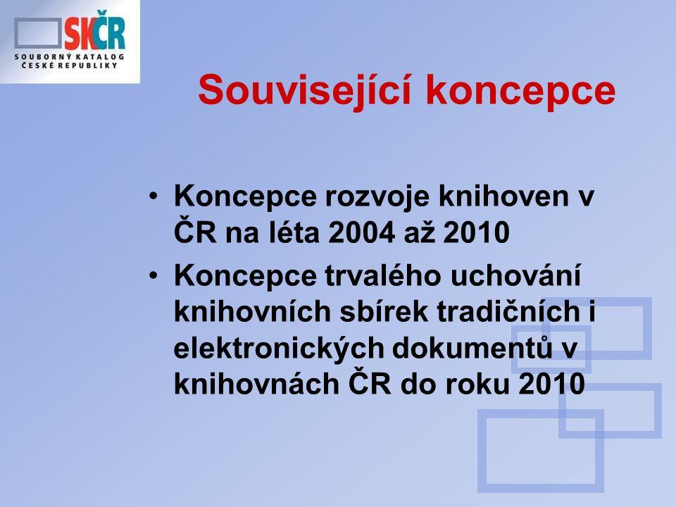 Související koncepce Koncepce rozvoje knihoven v ČR na léta 2004 až 2010 Koncepce trvalého uchování knihovních sbírek tradičních i elektronických dokumentů v knihovnách ČR do roku 2010