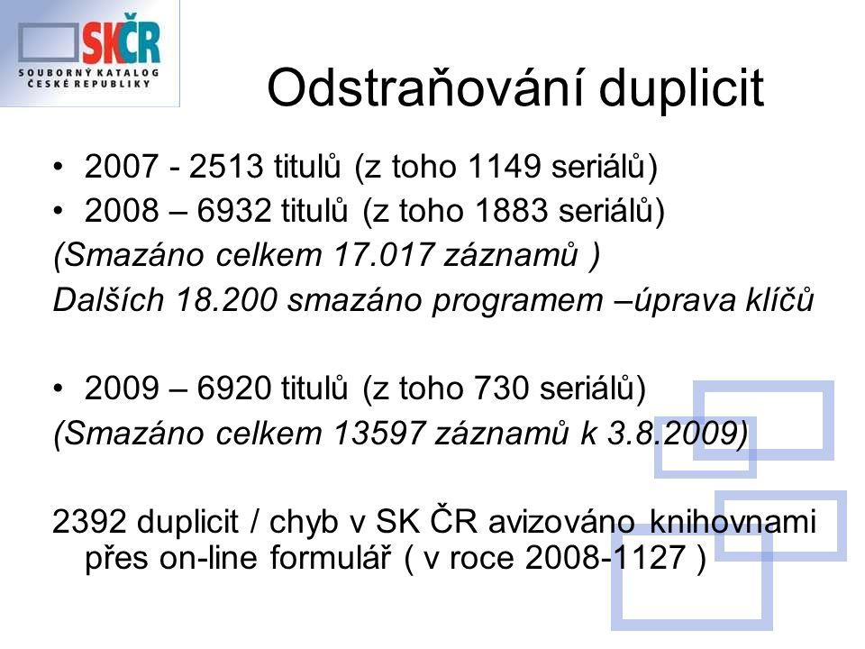 Odstraňování duplicit 2007 - 2513 titulů (z toho 1149 seriálů) 2008 – 6932 titulů (z toho 1883 seriálů) (Smazáno celkem 17.017 záznamů ) Dalších 18.200 smazáno programem –úprava klíčů 2009 – 6920 titulů (z toho 730 seriálů) (Smazáno celkem 13597 záznamů k 3.8.2009) 2392 duplicit / chyb v SK ČR avizováno knihovnami přes on-line formulář ( v roce 2008-1127 )