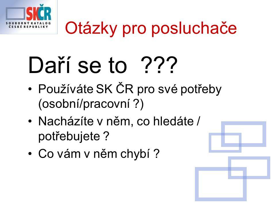 Výsledky analýzy duplicit v SK ČR (vytvořeno pro školení AACR2 2009) z 472 záznamů náhodně vybraných z 21 knihoven přispívajících do SK ČR vytvořilo 298 záznamů duplicitu v SK ČR tj.
