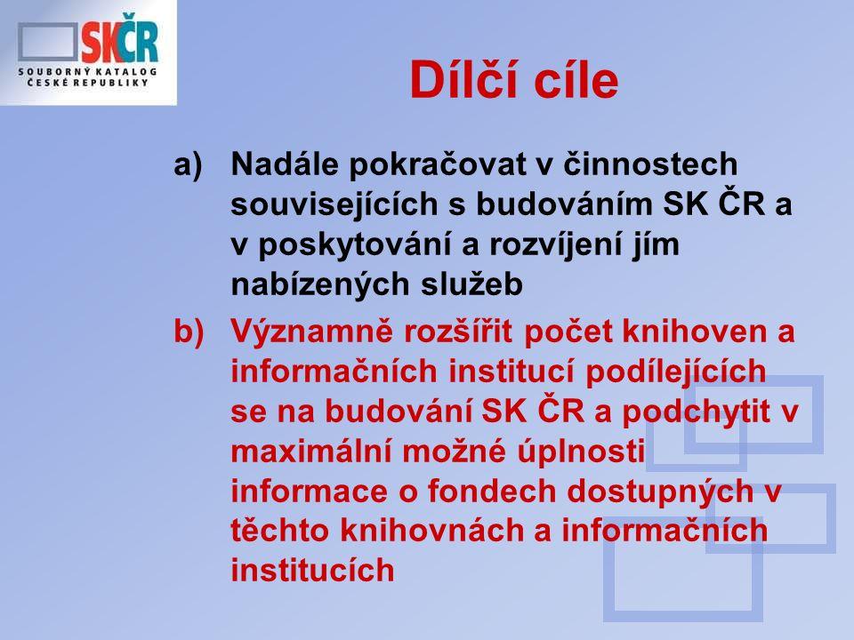 Ad c+d) standardy (2007-2009) Zpřísňování kontrol při importu dat (noví přispěvatelé nás velmi inspirovali ) Analýzy záznamů jednotlivých přispívajících knihoven (AACR2, způsobování duplicit v SK ČR …..