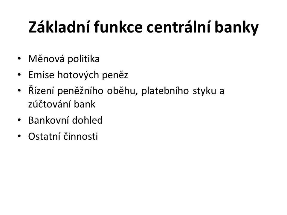 Základní funkce centrální banky Měnová politika Emise hotových peněz Řízení peněžního oběhu, platebního styku a zúčtování bank Bankovní dohled Ostatní činnosti