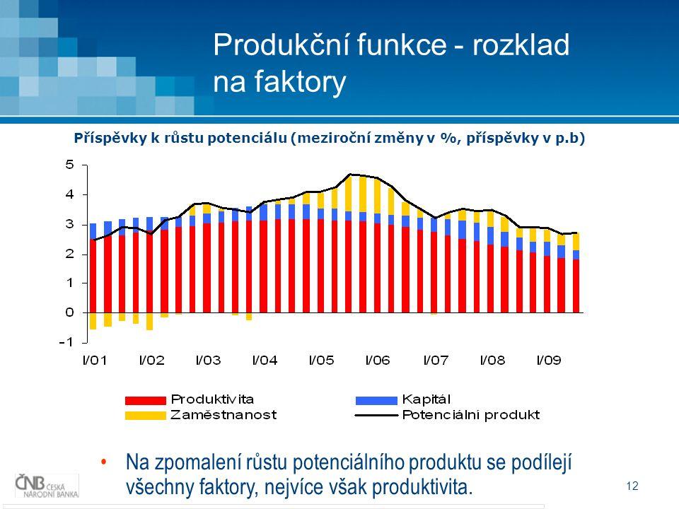 12 Produkční funkce - rozklad na faktory Na zpomalení růstu potenciálního produktu se podílejí všechny faktory, nejvíce však produktivita.