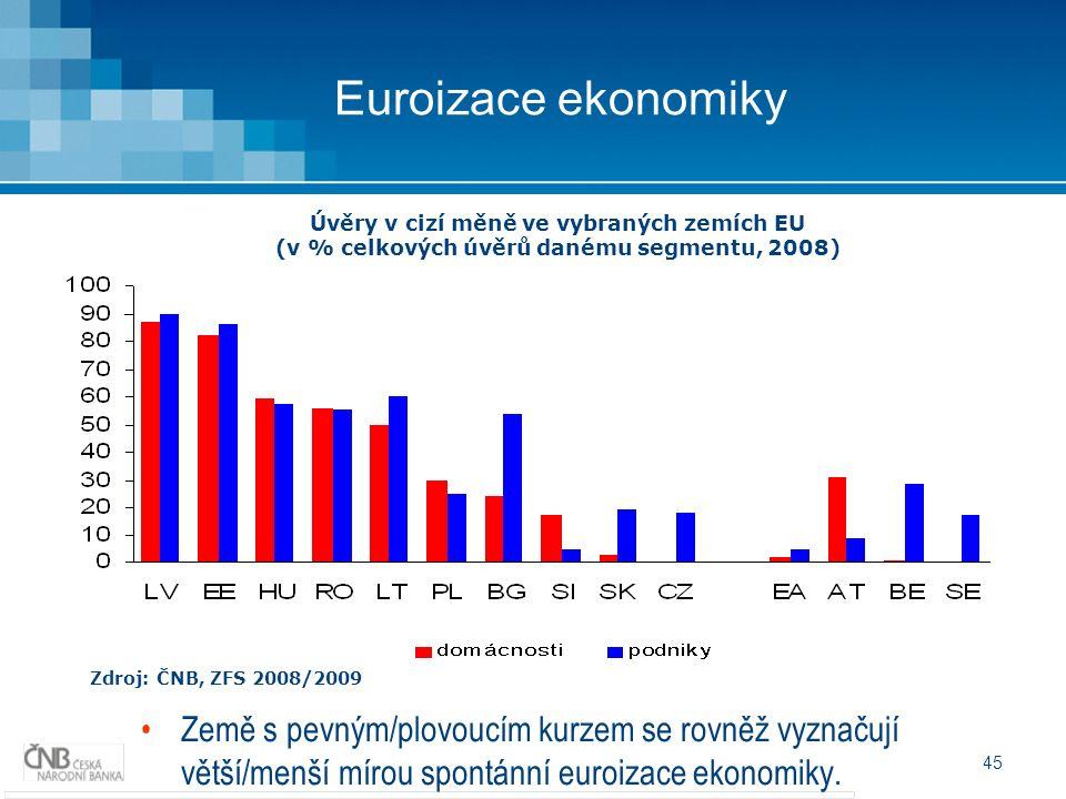 45 Euroizace ekonomiky Zdroj: ČNB, ZFS 2008/2009 Úvěry v cizí měně ve vybraných zemích EU (v % celkových úvěrů danému segmentu, 2008) Země s pevným/plovoucím kurzem se rovněž vyznačují větší/menší mírou spontánní euroizace ekonomiky.