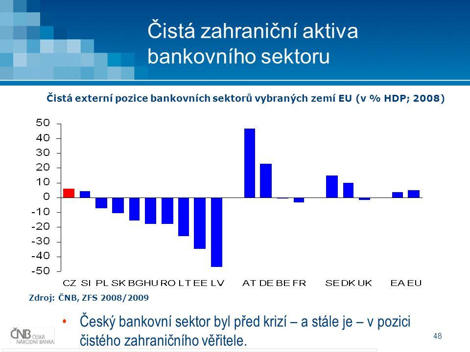 48 Čistá zahraniční aktiva bankovního sektoru Zdroj: ČNB, ZFS 2008/2009 Čistá externí pozice bankovních sektorů vybraných zemí EU (v % HDP; 2008) Český bankovní sektor byl před krizí – a stále je – v pozici čistého zahraničního věřitele.