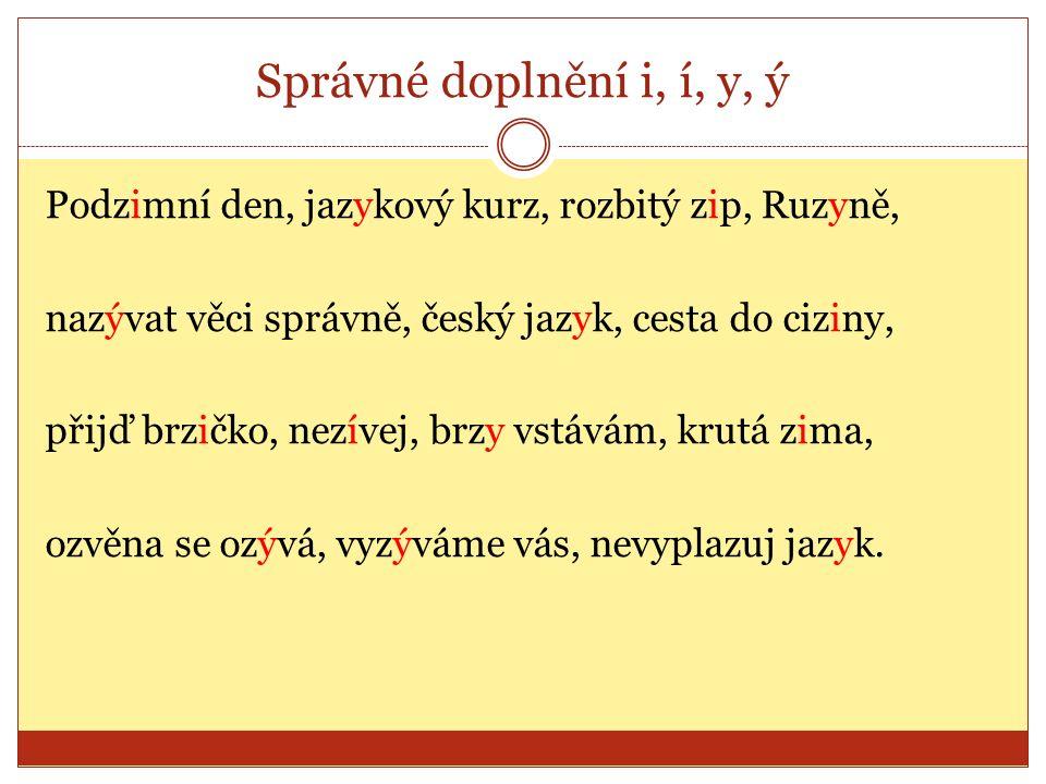Správné doplnění i, í, y, ý Podzimní den, jazykový kurz, rozbitý zip, Ruzyně, nazývat věci správně, český jazyk, cesta do ciziny, přijď brzičko, nezív