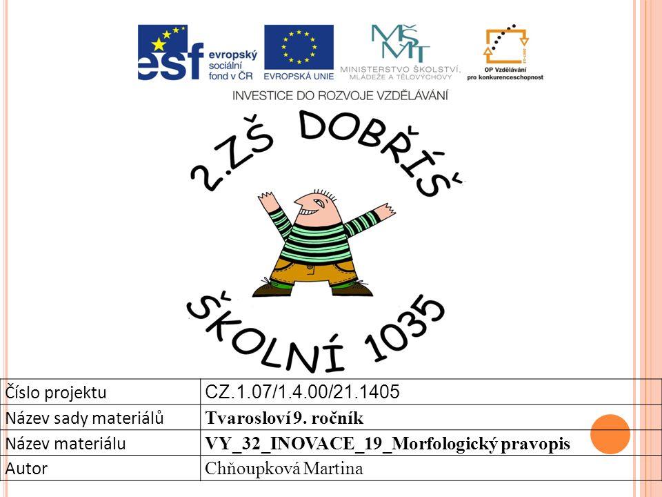 Číslo projektu CZ.1.07/1.4.00/21.1405 Název sady materiálů Tvarosloví 9.