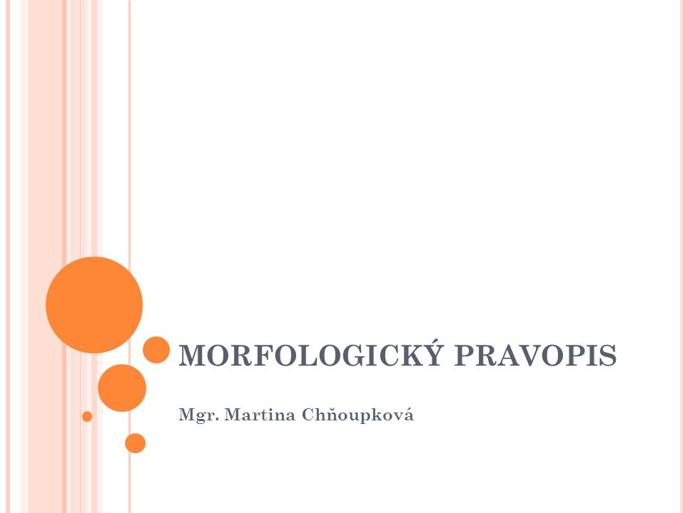 MORFOLOGICKÝ PRAVOPIS Mgr. Martina Chňoupková