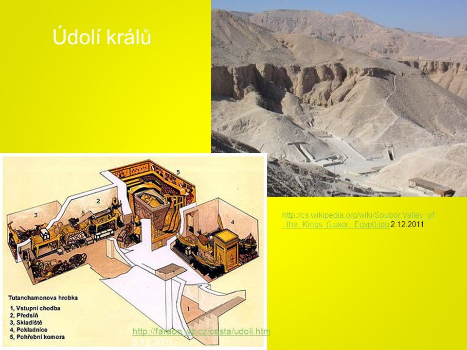 http://cs.wikipedia.org/wiki/Soubor:Valley_of _the_Kings_(Luxor,_Egypt).jpghttp://cs.wikipedia.org/wiki/Soubor:Valley_of _the_Kings_(Luxor,_Egypt).jpg 2.12.2011 http://faraon.wz.cz/cesta/udoli.htm http://faraon.wz.cz/cesta/udoli.htm 3.12.2011 Údolí králů