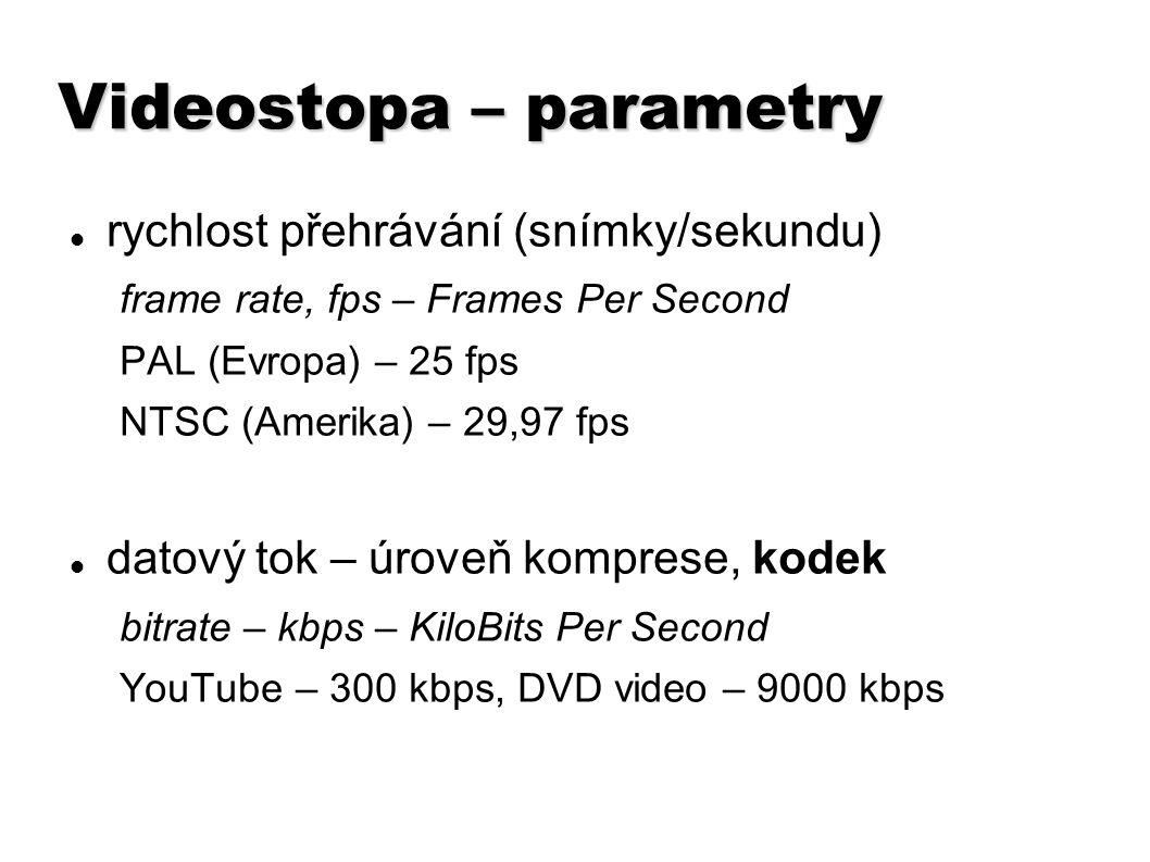 Videostopa – parametry rychlost přehrávání (snímky/sekundu) frame rate, fps – Frames Per Second PAL (Evropa) – 25 fps NTSC (Amerika) – 29,97 fps datov