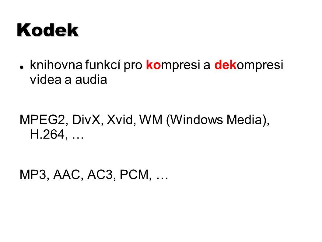 Audiostopa – parametry frekvence snímkování sample rate (Hz, kHz) 44100 Hz, 22050 Hz, 48 000 Hz datový tok – úroveň komprese, kodek bitrate – kbps – KiloBits Per Second běžné hudební MP3 – 128 kbps mluvené slovo – 56 kbps
