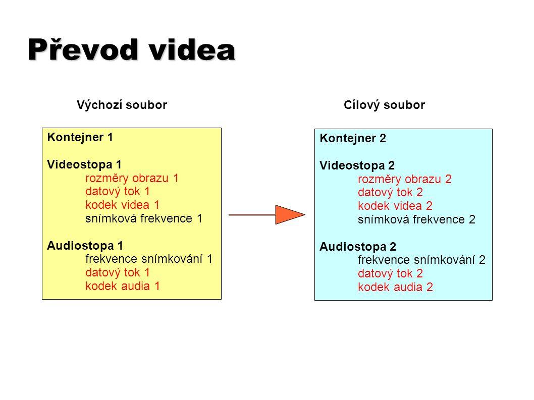 Převod videa Kontejner 1 Videostopa 1 rozměry obrazu 1 datový tok 1 kodek videa 1 snímková frekvence 1 Audiostopa 1 frekvence snímkování 1 datový tok 1 kodek audia 1 Kontejner 2 Videostopa 2 rozměry obrazu 2 datový tok 2 kodek videa 2 snímková frekvence 2 Audiostopa 2 frekvence snímkování 2 datový tok 2 kodek audia 2 Výchozí souborCílový soubor