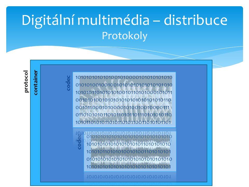 Digitální multimédia – distribuce Protokoly protocol container codec