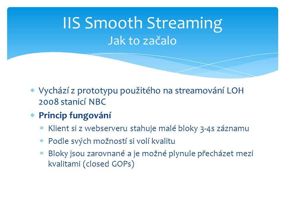  Vychází z prototypu použitého na streamování LOH 2008 stanicí NBC  Princip fungování  Klient si z webserveru stahuje malé bloky 3-4s záznamu  Podle svých možností si volí kvalitu  Bloky jsou zarovnané a je možné plynule přecházet mezi kvalitami (closed GOPs) IIS Smooth Streaming Jak to začalo