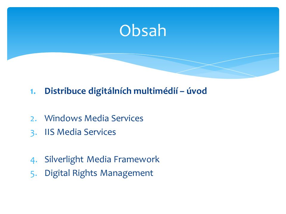  http://smf.codeplex.com/ http://smf.codeplex.com/  Rychlý vývoj robustního přehrávače v prostředí Silverlightu  Bohatá sada funcionality  Dobré možnosti skinovaní a přizpůsobení Silverlight Media Framework