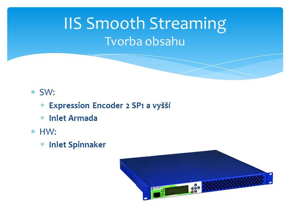  SW:  Expression Encoder 2 SP1 a vyšší  Inlet Armada  HW:  Inlet Spinnaker IIS Smooth Streaming Tvorba obsahu