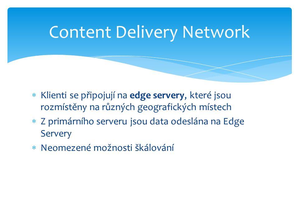 Klienti se připojují na edge servery, které jsou rozmístěny na různých geografických místech  Z primárního serveru jsou data odeslána na Edge Servery  Neomezené možnosti škálování Content Delivery Network