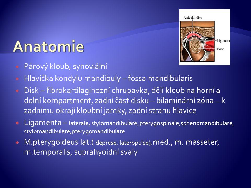  Párový kloub, synoviální  Hlavička kondylu mandibuly – fossa mandibularis  Disk – fibrokartilaginozní chrupavka, dělí kloub na horní a dolní kompartment, zadní část disku – bilaminární zóna – k zadnímu okraji kloubní jamky, zadní stranu hlavice  Ligamenta – laterale, stylomandibulare, pterygospinale,sphenomandibulare, stylomandibulare,pterygomandibulare  M.pterygoideus lat.( deprese, lateropulse), med., m.