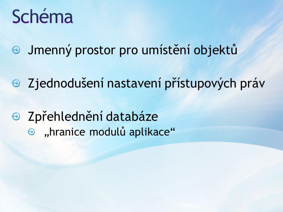 """Jmenný prostor pro umístění objektů Zjednodušení nastavení přístupových práv Zpřehlednění databáze """"hranice modulů aplikace"""