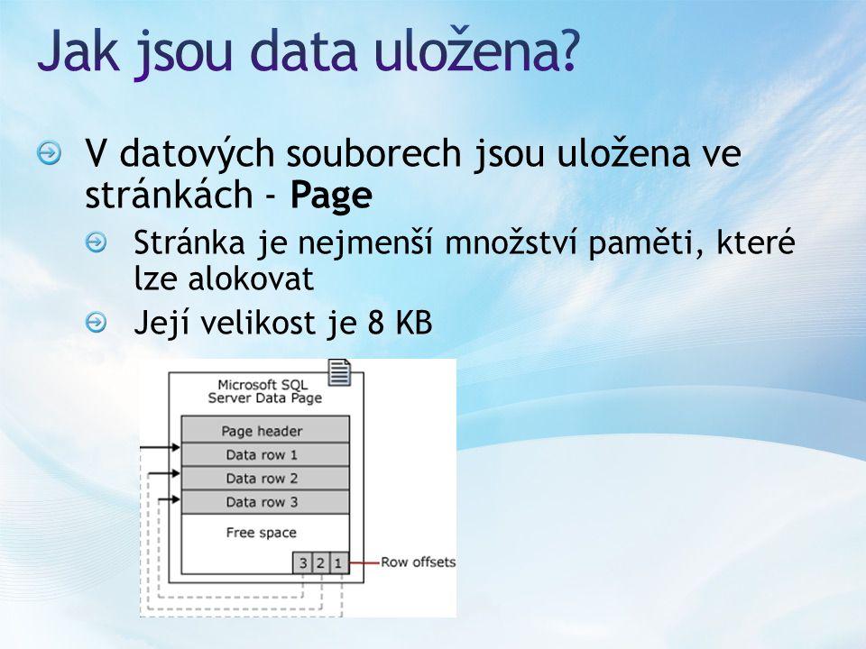 V datových souborech jsou uložena ve stránkách - Page Stránka je nejmenší množství paměti, které lze alokovat Její velikost je 8 KB