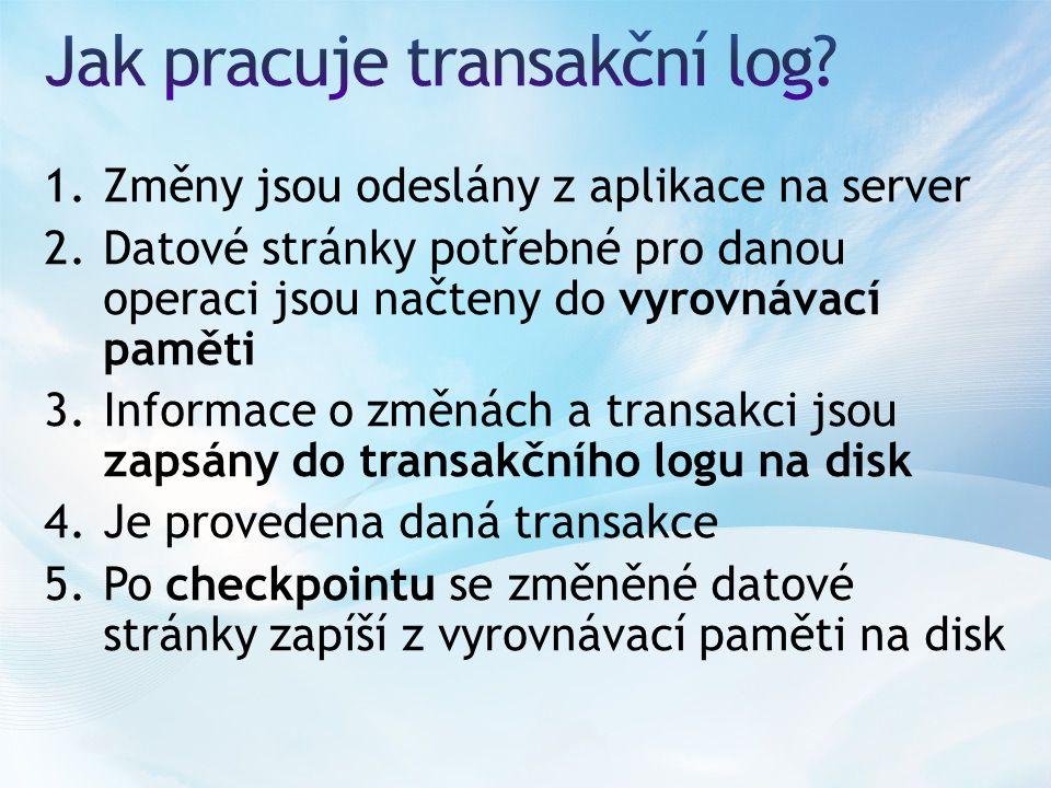 1.Změny jsou odeslány z aplikace na server 2.Datové stránky potřebné pro danou operaci jsou načteny do vyrovnávací paměti 3.Informace o změnách a transakci jsou zapsány do transakčního logu na disk 4.Je provedena daná transakce 5.Po checkpointu se změněné datové stránky zapíší z vyrovnávací paměti na disk