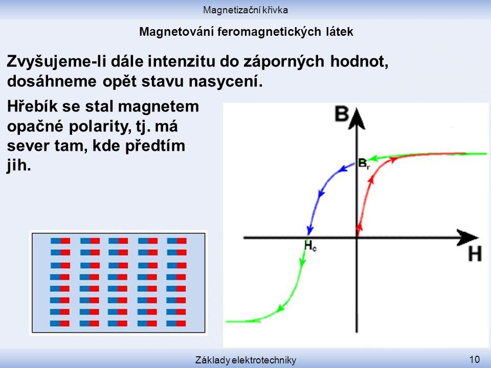 Magnetizační křivka Základy elektrotechniky 10 Zvyšujeme-li dále intenzitu do záporných hodnot, dosáhneme opět stavu nasycení.