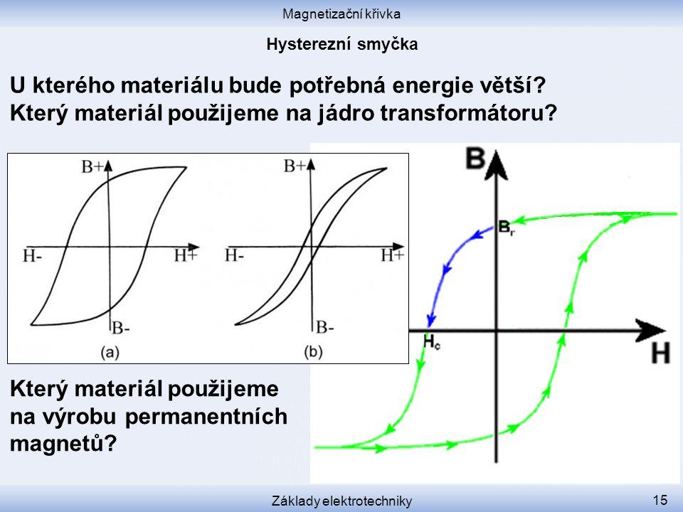 Magnetizační křivka Základy elektrotechniky 15 U kterého materiálu bude potřebná energie větší.