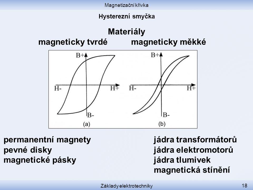 Magnetizační křivka Základy elektrotechniky 18 Materiály magneticky tvrdé magneticky měkké permanentní magnety pevné disky magnetické pásky jádra transformátorů jádra elektromotorů jádra tlumivek magnetická stínění